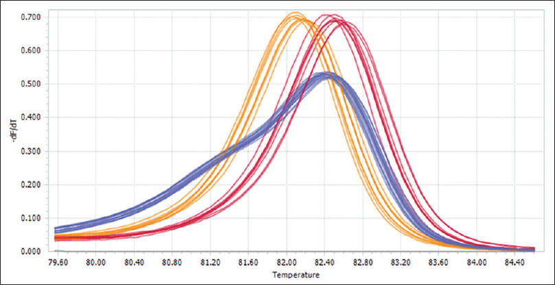 Figure 2: Normalized melting peaks following analysis of HRM data for the <i>IL10</i> SNP (A/C). [INSIDE:4] Homozygote C/C [INSIDE:5] Heterozygote A/C [INSIDE:6] Homozygote A/A