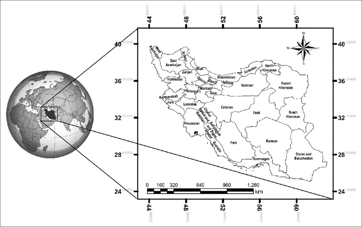 Figure 1: Geographical location of Iran